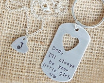 Daddy Daughter Key Chain Necklace Set, Father Daughter Gift Set, Fathers Day Gift, Personalized Jewelry, Hand Stamped Metal, Handmade
