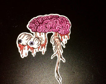 Floating Brain with Eyes Vinyl Sticker/ Decal