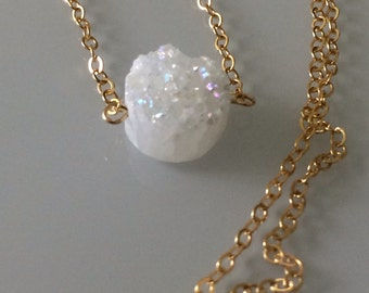 Snow White Quartz Druzy 14kgf Necklace