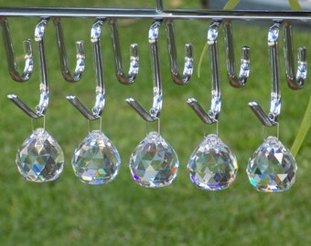 5 pcs Crystal Ball, Christmas Ornament, Wedding, Chandelier, Window Hanging Crystal Prism, Suncatcher, Feng Shui Ball