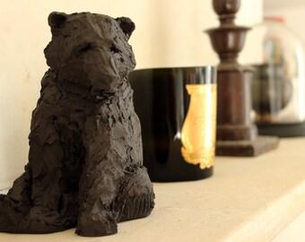 Sitting bear ceramic sculpture