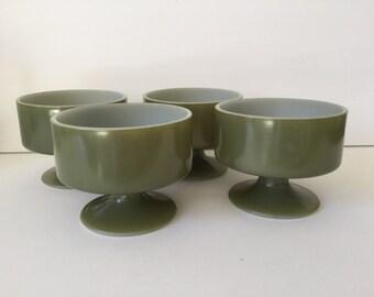 Vintage Federal Glass Sherbet Bowls...Mid Century Modern Dessert Bowls..Modern Avocado Green Footed Ice Cream Cups...Stackable Dessert Bowls