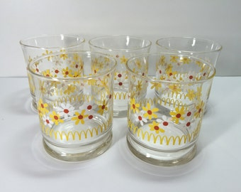 Vintage Libbey McDonald's Happy Daisy Glasses..Hippie Flower Power Juice Glasses..Mod Drinking Glasses...
