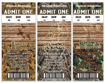 Hunter Camo Birthday Party Invitation - Deer Hunting Birthday - Camouflage - Duck Camo - Boy Birthday Invitations - Buck - Target - Rustic