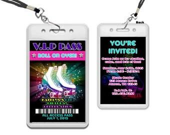VIP Pass Roller Skate Invite - Roller Skating Birthday Invitation - 80s Roller Skate Party - Roller Skate Birthday Invite - Skate Party Pink