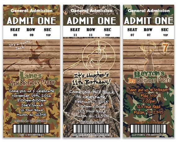 Hunter Camo Birthday Party Invitation Deer Hunting Birthday – Hunting Party Invitations