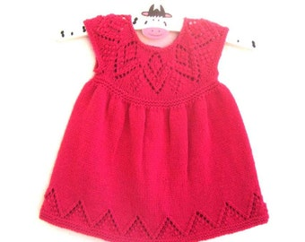 Isabelle Dress - Knitting Pattern - Baby girl to age 6  - Instant Download PDF