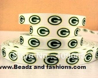 Greenbay green white 3/8 grosgrain ribbon 9mm sport football