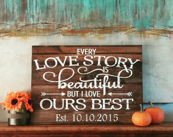 Newlywed Gift- Every Love Story- Pallet Art
