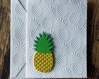 Embossed Pineapple Cards, Set of 5, Tropical Greeting Cards, Summer Stationery Set, Tropical Fruit, Blank Note Cards, Pineapple Die Cut Card