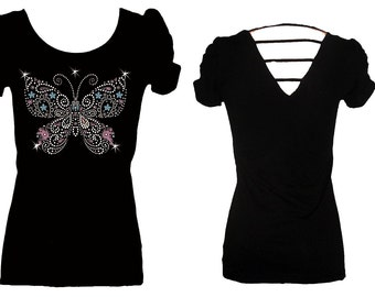 Butterfly Pink Blue Rhinestone String Back Bling Womens Tee Shirt Top
