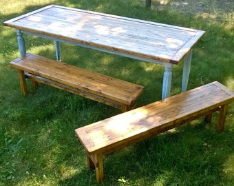 Rustic Farmer's Bench (Reclaimed Wood)
