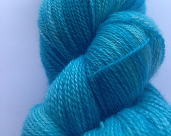 Turquoise Calm lace weight superwash merino silk yarn turquoise tonal blue indie dyed