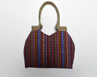 Colorful Mexican tote bag, Mexican shoulder bag, fashionable bag, tote bag, ethnic tote bag, hippie bag, jute handles