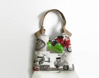 Fashionable tote bag, classis Vespa scooter print, shoulder bag, funky handbag, Italian flag colors, trendy shoulder bag, jute handles