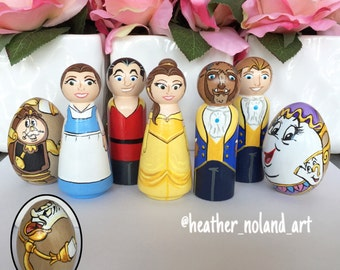 Full Set Beauty and the Beast peg dolls - princess doll - peg doll - wooden toys - simple play