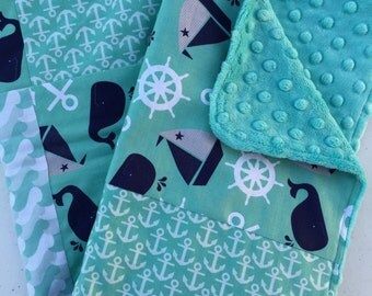 Nautical Gender Neutral Baby Blanket, Minky Blanket, Baby Bedding, Boats, Anchors, Whales, Waves, Navy, White, and Aqua