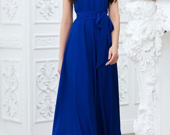 Cobalt blue maxi dress Long blue dress Dress with  belt on  floor Evening Dress Royal blue