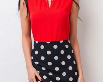 Polka dot skirt Office Black business skirt for women Spring Autumn pencil skirt Print office clothes