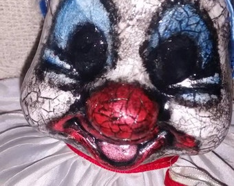 Creepy old clown scary horror Gruesome ooak porcelian doll