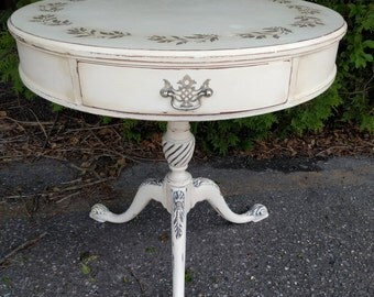 End Table, Side Table or Night Stand - Round - Annie Sloan Chalk Paint and Stencil