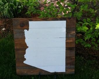 21x21 Wood State Wall Art -Arizona, AZ silhouette