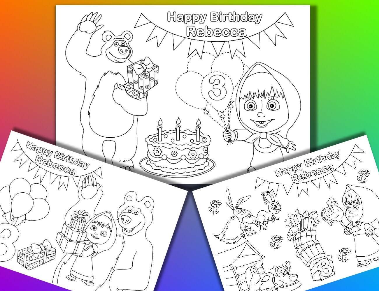 masha and bear birthday party coloring pages activity pdf