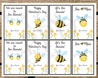 DIY Bumble Bee Valentine Cards, Cute Valentine Cards, Children Bumble Bee Valentine Cards, Valentine Cards, Instant Download, Digital Files