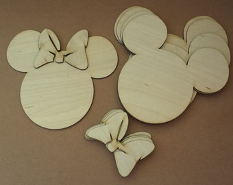 Minnie Mouse unfinished wood cutouts (6 pieces)