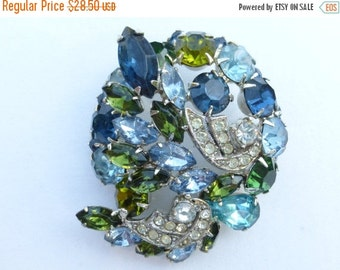 On Sale Vintage rhinestone brooch in shades of blue and green AJ93