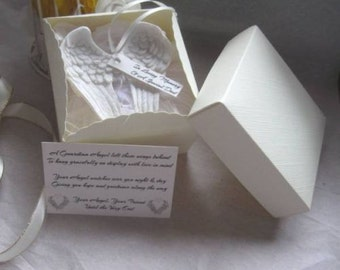 In Loving Memory Of - Personalised Angel Wings + Birthstone - Bereavement Gift / Keepsake - Christmas Tree Decorations