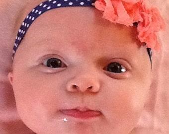 Peach and navy shabby chic headband, newborn headband, shabby chic headband