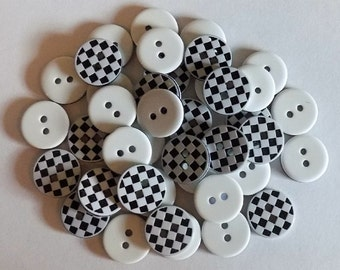 20 Black and White Checker Buttons - #R-00016
