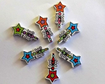 7 Wooden Wand Buttons - #SB-00267