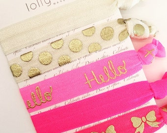 Hello, Doll! Color Story | Elastic Ribbon Hair & Wrist Ties | Set of 5