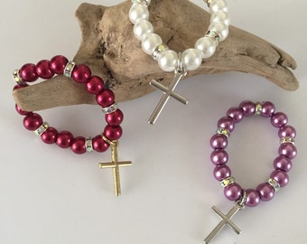 Newborn/premie baby bracelet with cross