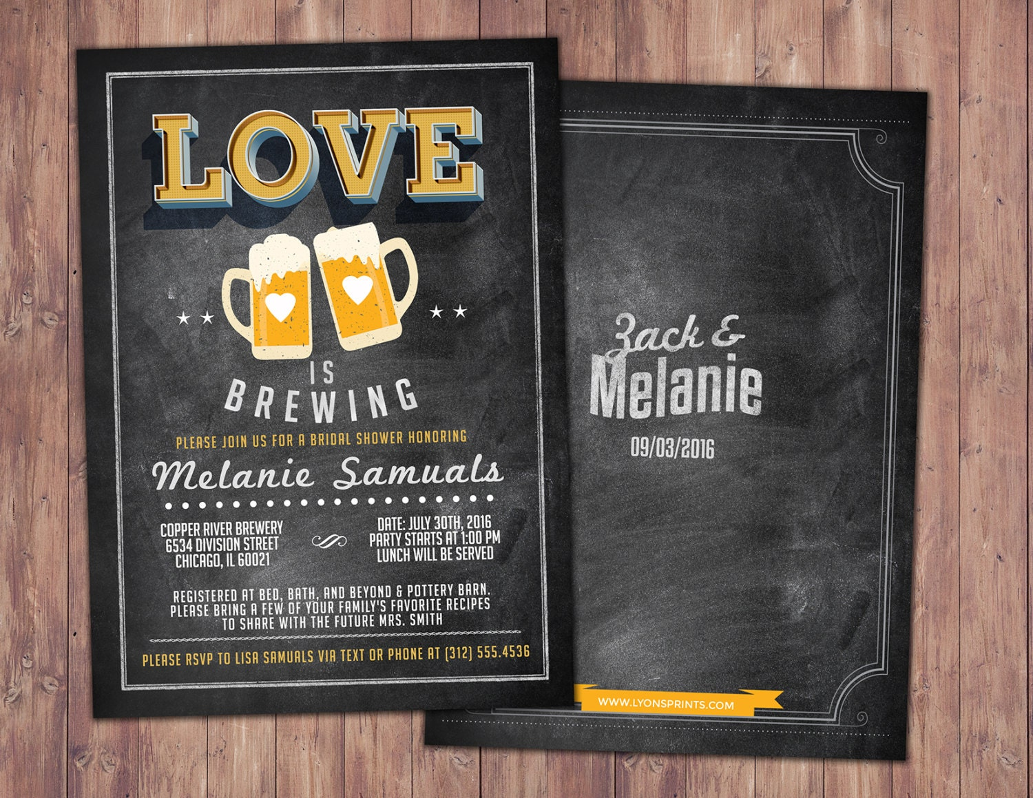 Coed Bridal Shower Invitation Beer Couples