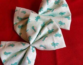Blue bird hair bow