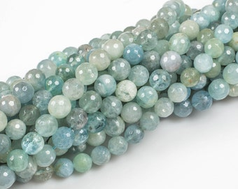 NATURAL Clearish Blue aquamarine faceted round beads in full strands. 6-14MM