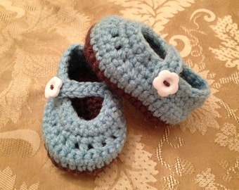 blue and Brown Mary Janes