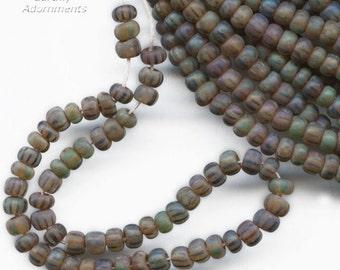 Translucent matte stripe ancient look Picasso beads size 6/0 4mm, 6 inch strand. b11-mi-1185(e)