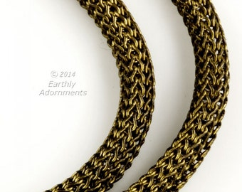 Vintage naturally oxidized brass 4.5mm round mesh chain  Sold per foot. b12-chn685(e)