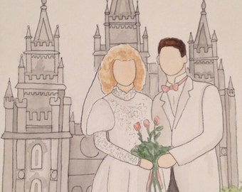 Watercolor Wedding Portrait (WITH BACKGROUND)