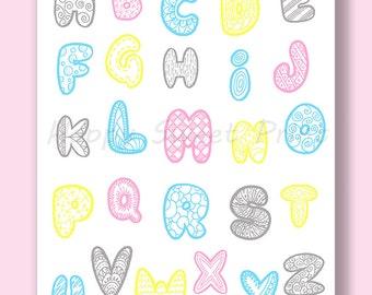 Alphabet nursery art, baby wall print, pink yellow grey and blue, kids wall art, children wall art, alphabet crib bedding