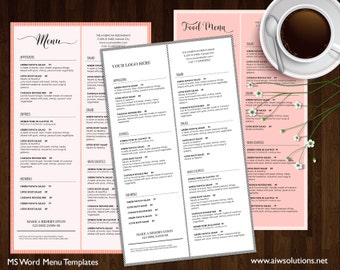 Food Menu , Printable Restaurant Menu Template, Wedding Menu Template, Food  Menu Template,  Cafe Menu Template Word