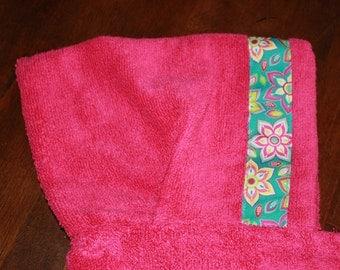 Flower Hooded Towel, Pink or Teal - For babies, toddlers, preschoolers and beyond!