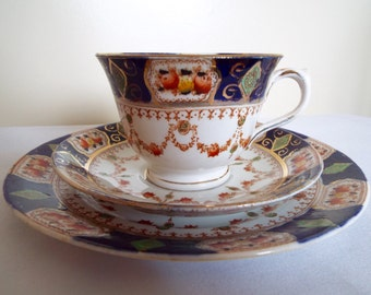 Vintage Tea Cup and Saucer, Imari Trio by Mona China. Edwardian Hand Painted Teacup and Cake Plate. Perfect For An Afternoon Tea Party!