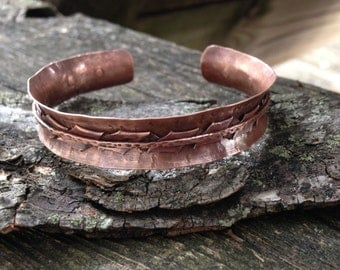 Handmade copper cuff, folded metal, riveted layered bracelet