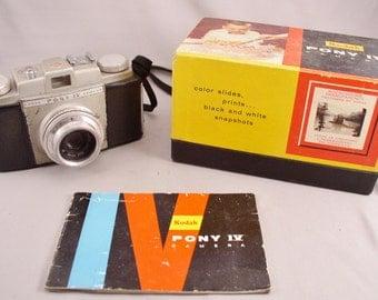 KODAK PONY IV 1950s 35 mm Camera, Box & Instructions - Vintage Camera