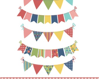 Summer bunting, red, blue, green and yellow, digital clipart
